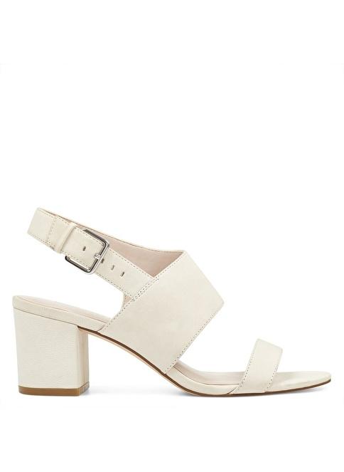 Nine West Kalın Topuklu %100 Deri Sandalet Beyaz